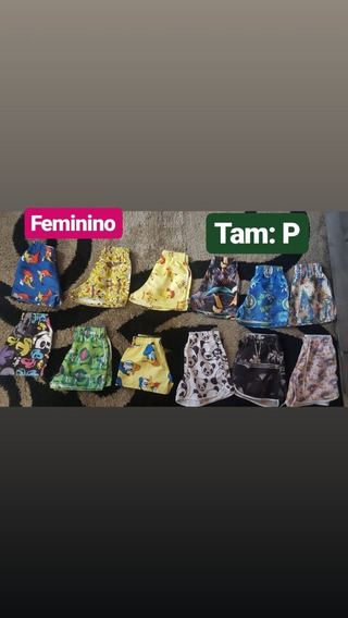 Lote C/10 Shortes Tactel Batedeira Feminino