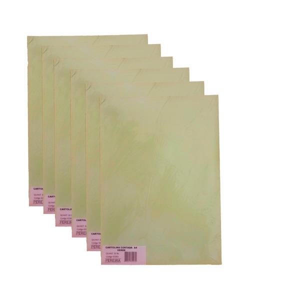 Kit 10 Pcts Cartolina Cortada A4 Verde 500 Folhas -pereira