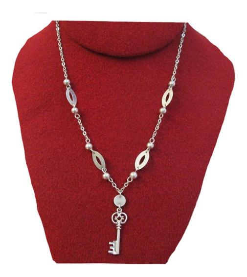 Cadena Collar Con Llave En Plata Fina .925.