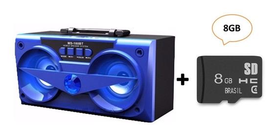 Combo Caixa De Som Bluetooth Azul 10w Ms-180bt + Cartao 8gb