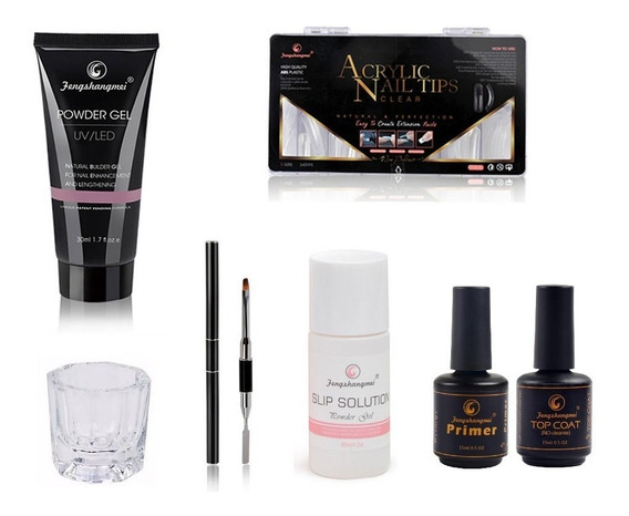 Kit Unhas Gel Poligel Completo 200 Moldes F1 Primer Top Coat