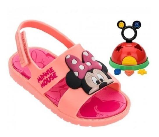Sandália Infantil Minnie Baby Rosa Grendene Kids + Brinquedo