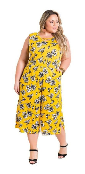 Macacão Roupas Femininas Plus Size Pantacourt Plus Size Floral Amarelo Gordinha