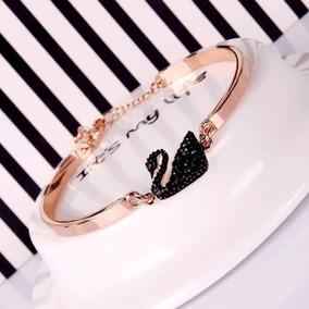 Bracelete Swarovski / Cisne Negro / Banhado A Ouro