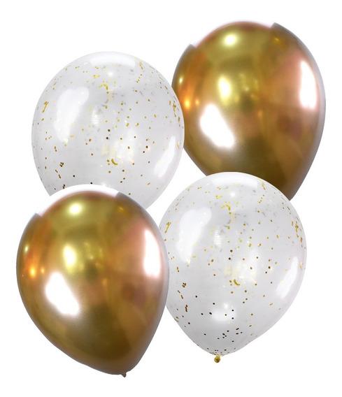 10 Globos Oro Cromo Chrome Confeti Arreglo Fiesta Decoración