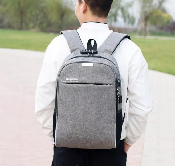Mochila Antirrobo Con Candado Usb, Backpack.