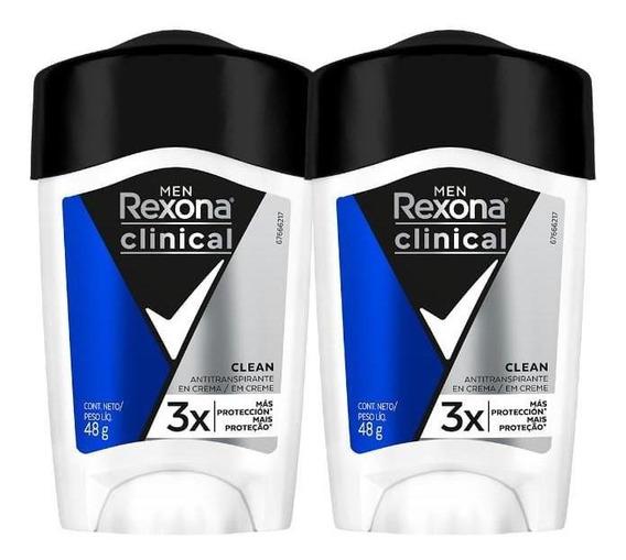 Desodorante Antitranspirante Rexona Clinical Men 48g - 2un