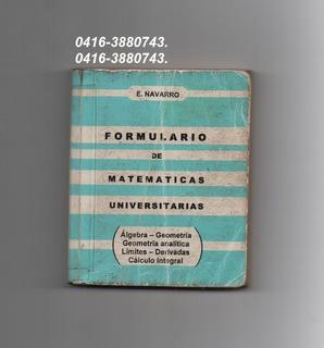 Formularios De Matemáticas Universitarios De Navarros