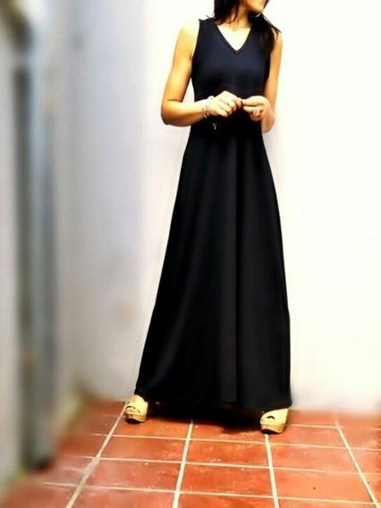 Maxi Vestido Solera Evase Espalda V Talles Reales Caro-r