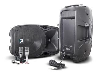 Par De Cajas Bafle Reck 15 350 Rms + Cables + Microfonos
