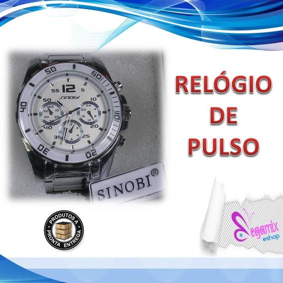 Relógio De Pulso Sinobi Quartz Aço Inoxidável 3atm Masculino
