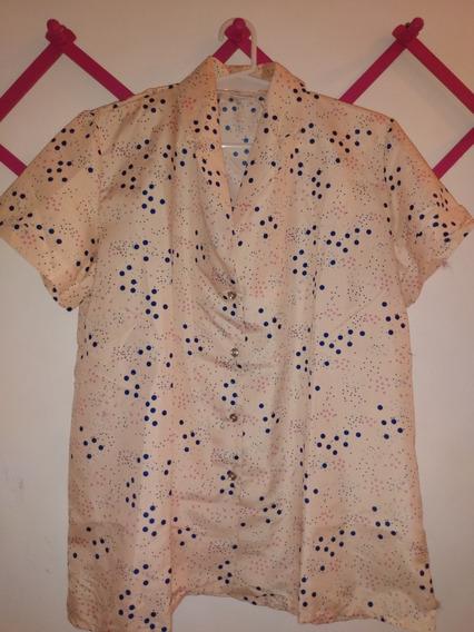 Camisa Dama Algodón Y Fibrana, Cuello Solapa Manga Corta