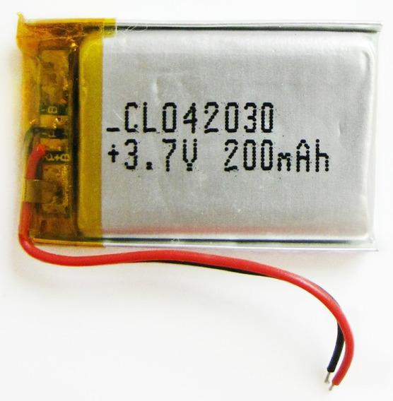 Bateria 3,7v 200mah Polímero Lítio Li-po Recarregável