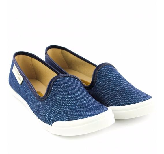 Sapatilha Feminina Slip On Moleca 5109.436 Azul/jeans