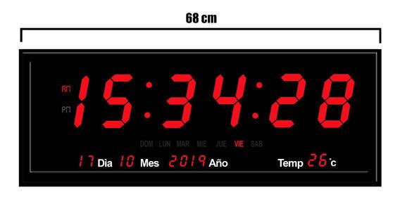 Reloj Digital De Pared De Led Aluminio Control 68 X 26 Cm