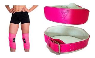 Kit Cinturón De Piel Rosa Y Par Bandas Elásticas Gym