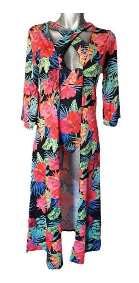 Coordinado Playa Traje De Baño Likra Con Ensamble Kimono
