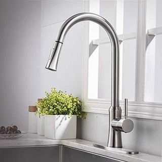 Commercial Brushed Nickel Kitchen Faucet Stainless Steel Sin