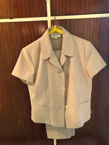 Traje De Mujer Con Pantalón Color Crema Talle 42 - Normandi