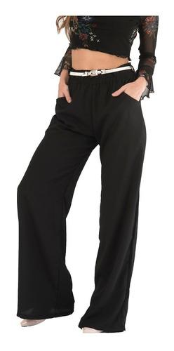 Pantalon Palazzo Negro  Tiro Alto Elastico Cintura Bolsillos