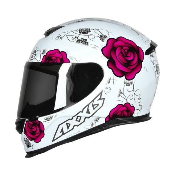 Capacete Moto Mt Axxis Eagle Flowers Branco/rosa Tam 58/m