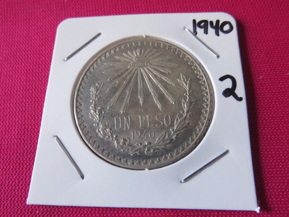 Un Peso Resplandor 1940 Plata Ley .720 Circulada