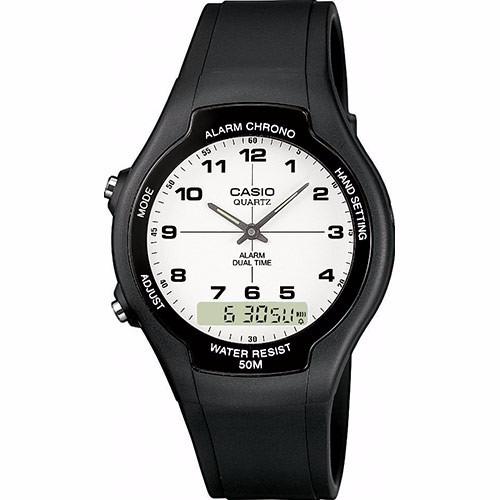 Reloj Casio Aw 90 Doble Hora Digital Manecilla Nuevo Y Origi