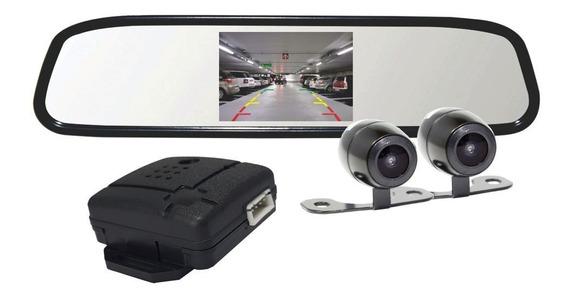 Retrovisor 4,3 Lcd Com 2 Câmeras Ré E Frontal Rs504br