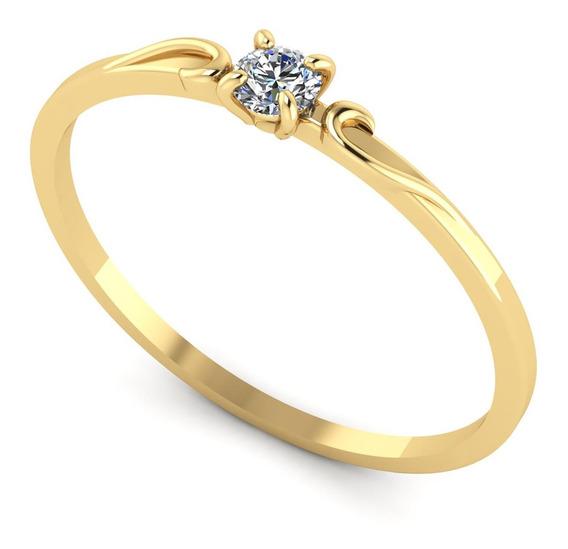 Anel Em Ouro 18k/750 Solitário Com Diamante 11 Pontos