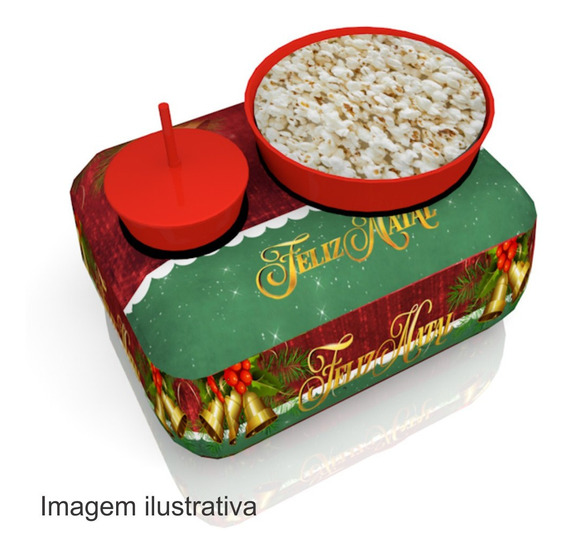 10 Almofadas Pipoca 1 Copo Canudo Lembrancinha Natal