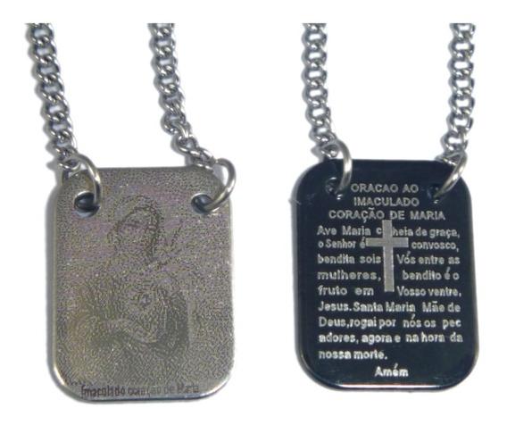 Escapulário Aço Inox E Black Imaculado Coração Maria Oração
