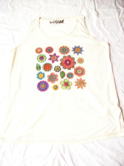 Aurojul-remera De Diseño Con Flores - Musculosa-talle L