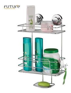 Suporte Porta Shampoo Sabonete Duplo C/ Ventosa Aço - Future