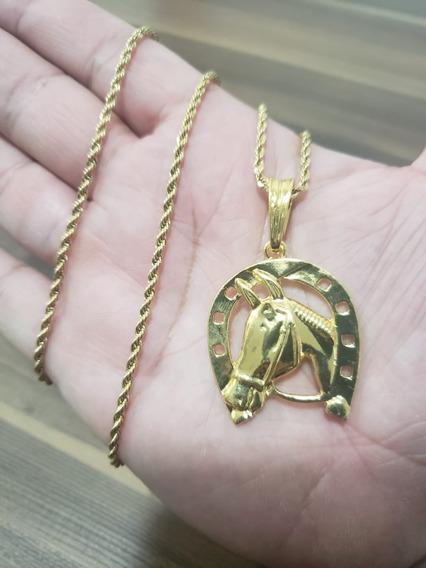 Corrente Masculina Torcida 60cm Pingente Cavalo Banhada Ouro