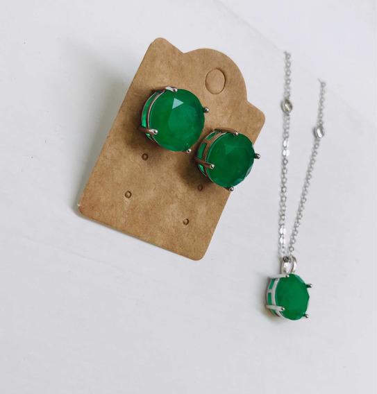 Colar E Brinco Verde Esmeralda Pedra Fusion Banhado A Rodio