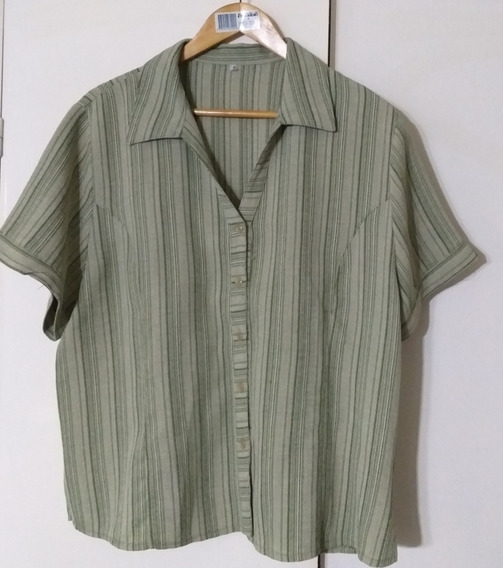 Camisa Algodon Rustico Mujer L Impecable