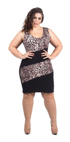 Vestido Plus Size Festa Cirre Preto Elegante