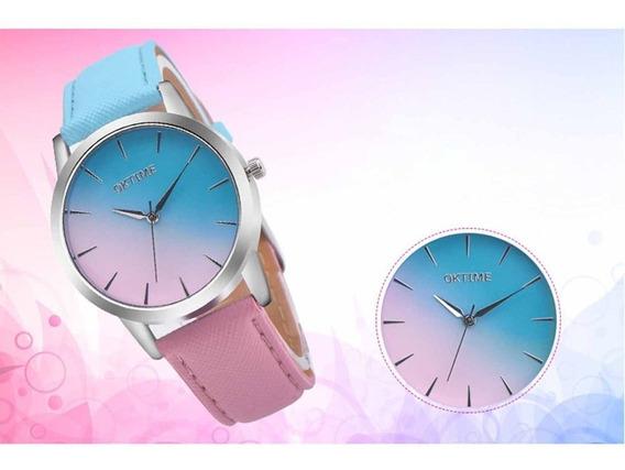 Retro Rainbow Design Mulheres Relógios Pu Pulseira De Couro