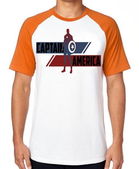 Camiseta Luxo Capitão América Listra Avengers Vingadores Top