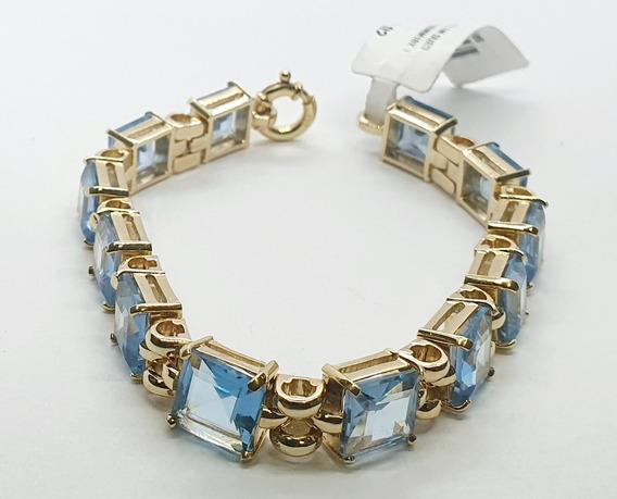 Pulseira Em Ouro 18k Bracelete Com Pedra Azuis 19cm 43,65g