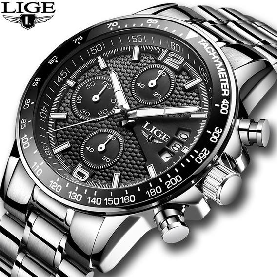 Relógio Lige Luxo Militar Esporte Aço Inoxidável Top