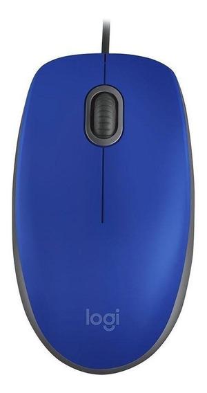 Mouse Logitech M110 Silent Azul Com Fio Pronta Entrega