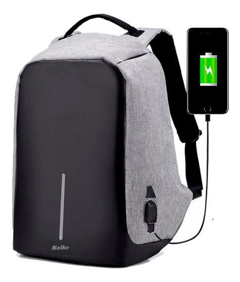 Mochila Antirrobo Porta Notebook Tablet Seguridad Usb Urbana