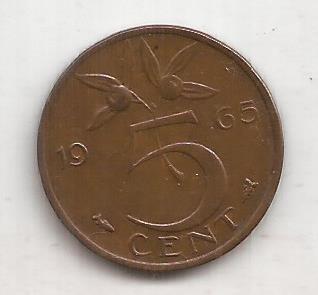 Holanda Moneda De 5 Cents Año 1965 !!