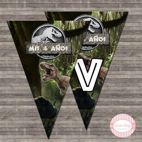 Jurassic World Banderin Impreso Personalizado