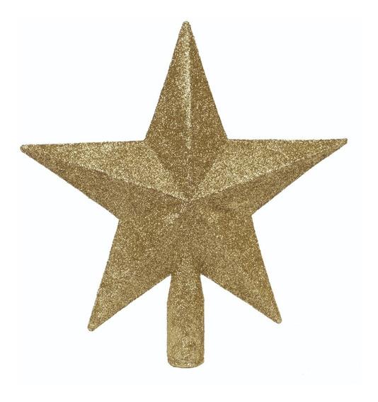 Estrella Puntal Dorado 15cm Para Arbol De Navidad
