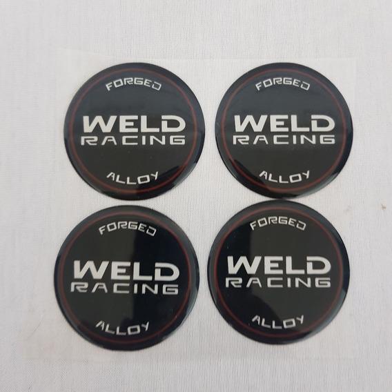 Jogo 4 Emblema Weld Adesivo 35mm Rts Pro Star Resinado