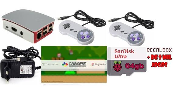 Vídeo Game Retro Raspberrypi3+recalbox+2controles+fonte+case