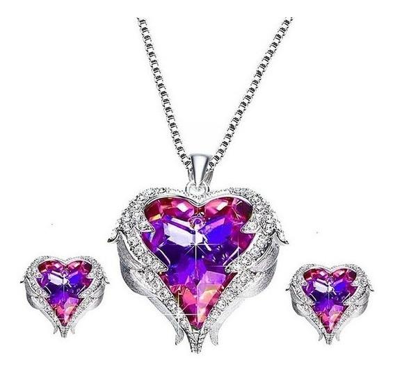 Conjunto Prateado De Brinco E Colar Luxo Coração Rosa
