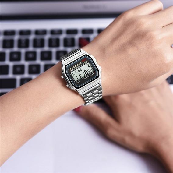 3 Relógios Feminino Casio Digital Aço Prata Dourado Rosa